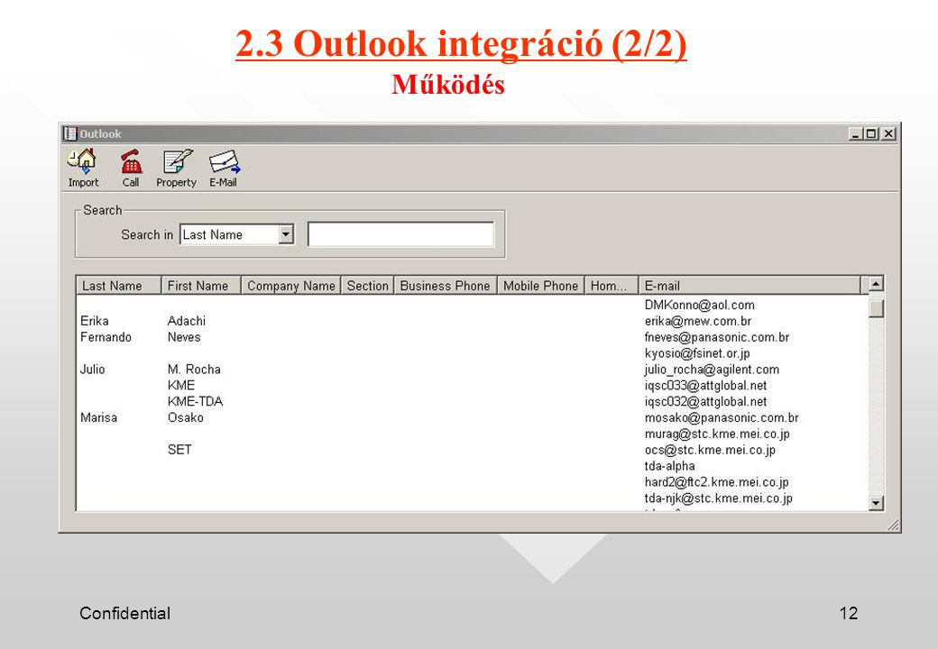 Confidential12 2.3 Outlook integráció (2/2) Működés