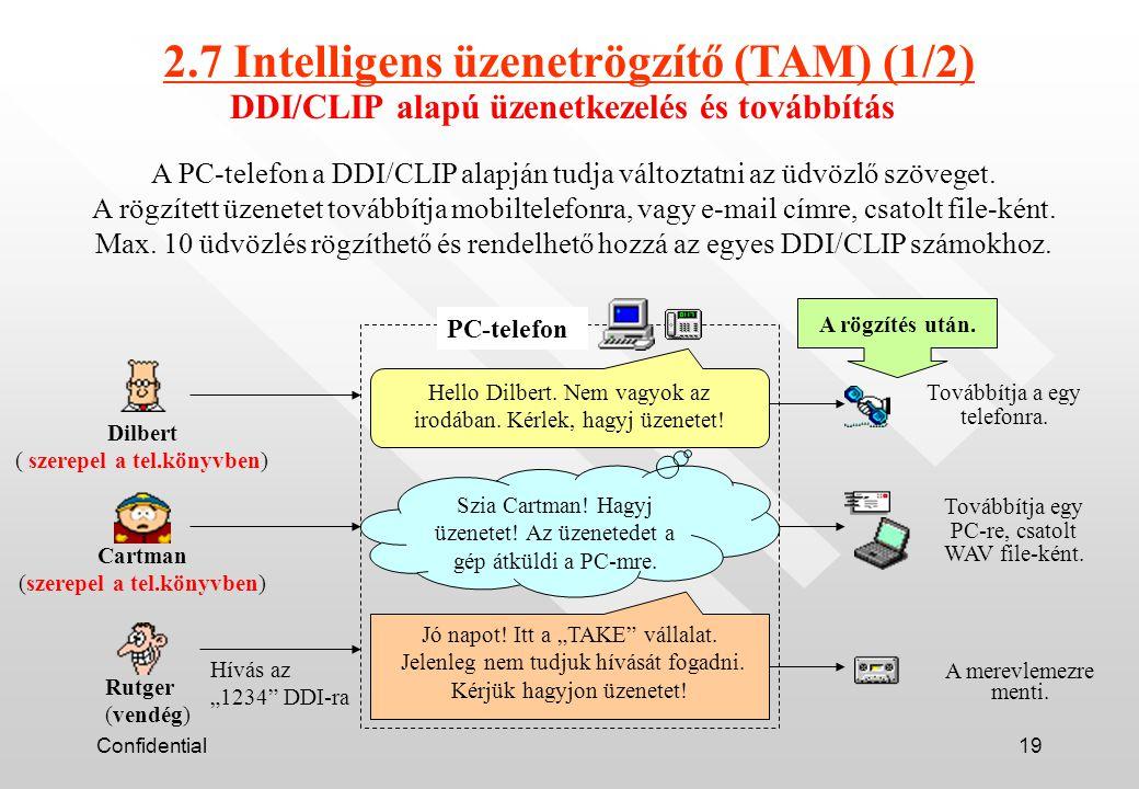 Confidential19 DDI/CLIP alapú üzenetkezelés és továbbítás A PC-telefon a DDI/CLIP alapján tudja változtatni az üdvözlő szöveget.