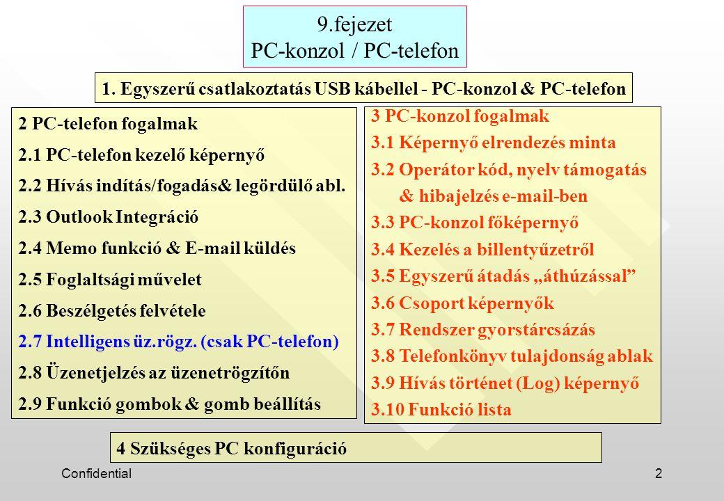 Confidential43 4 Szükséges PC konfiguráció Op.rendszer : Windows 98SE, Me, 2000, vagy XP CPU : Pentium II 300MHz, vagy felette RAM : 64 MB HDD : 100 MB szükséges (a telepítéshez) Képernyő : XGA(1024*768), vagy felette USB Interfész (USB meghajtó hang támogatással) Hangkártya