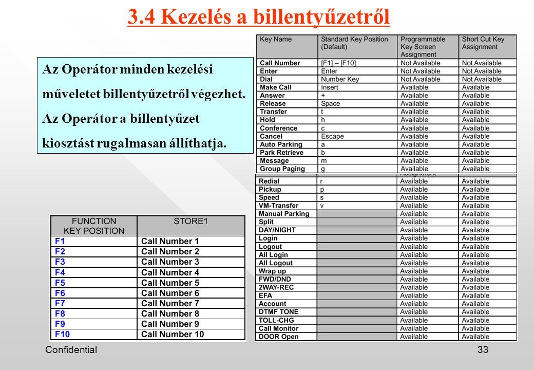 Confidential33 3.4 Kezelés a billentyűzetről Az Operátor minden kezelési műveletet billentyűzetről végezhet.