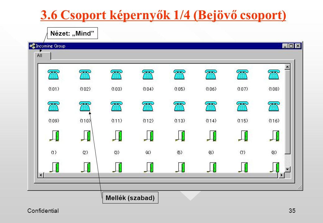 """Confidential35 3.6 Csoport képernyők 1/4 (Bejövő csoport) Nézet: """"Mind Mellék (szabad)"""