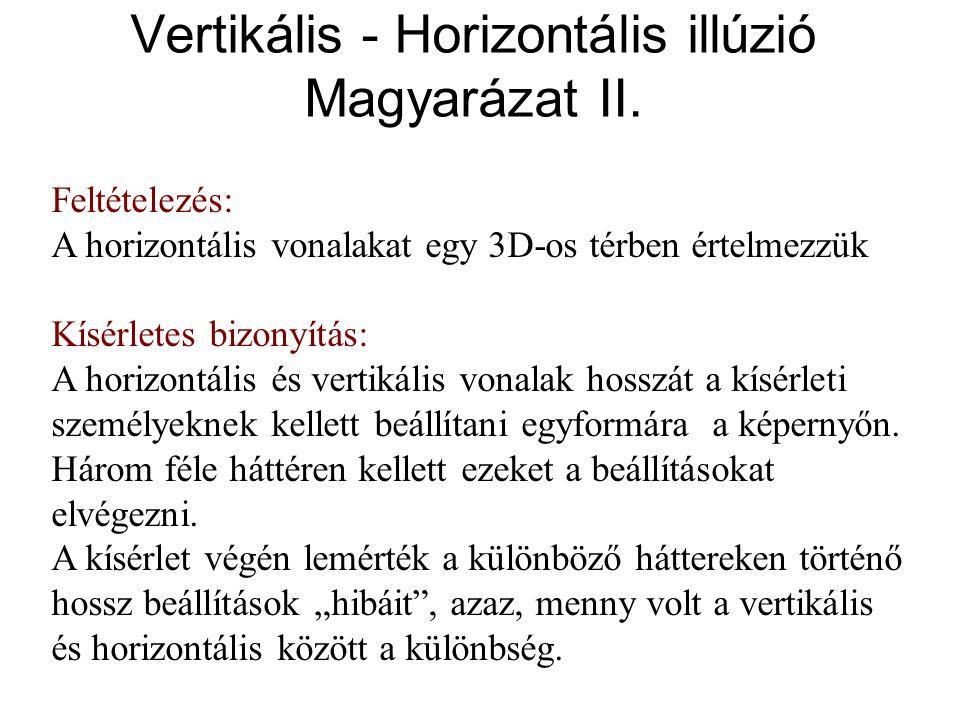 Vertikális - Horizontális illúzió Magyarázat II. Feltételezés: A horizontális vonalakat egy 3D-os térben értelmezzük Kísérletes bizonyítás: A horizont