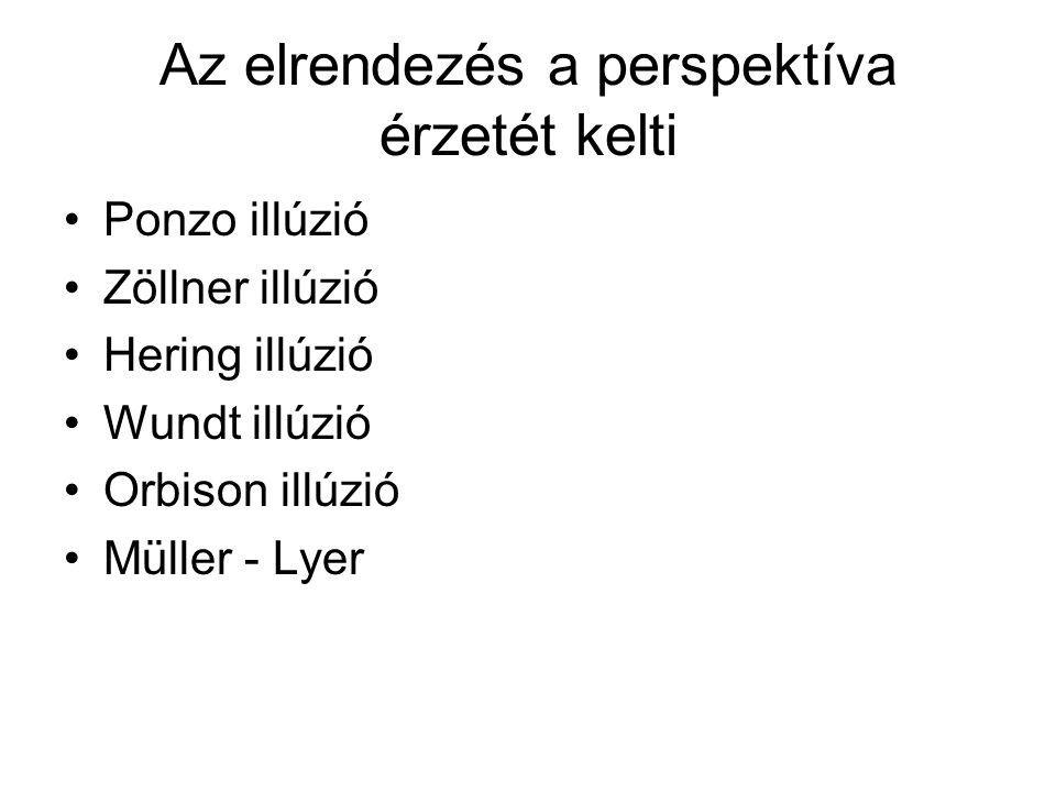 Az elrendezés a perspektíva érzetét kelti •Ponzo illúzió •Zöllner illúzió •Hering illúzió •Wundt illúzió •Orbison illúzió •Müller - Lyer