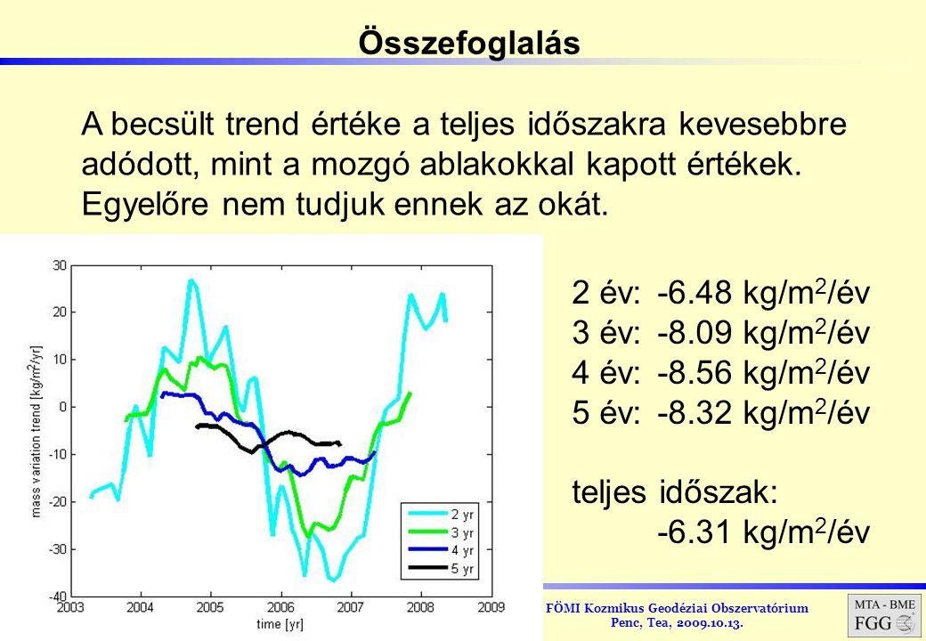 FÖMI Kozmikus Geodéziai Obszervatórium Penc, Tea, 2009.10.13. A becsült trend értéke a teljes időszakra kevesebbre adódott, mint a mozgó ablakokkal ka