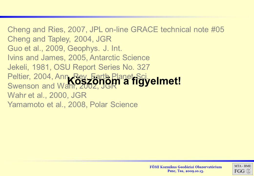 FÖMI Kozmikus Geodéziai Obszervatórium Penc, Tea, 2009.10.13. Cheng and Ries, 2007, JPL on-line GRACE technical note #05 Cheng and Tapley, 2004, JGR G