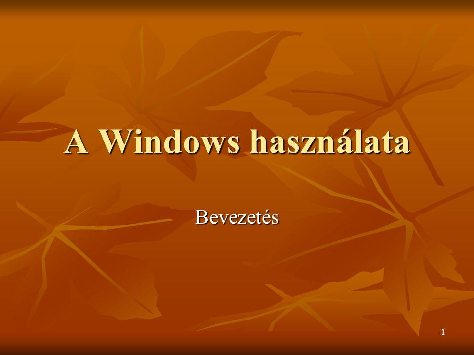 2 A Windows képernyő felépítése  Ikonok : Az ikonok kis méretű ábrák, amik fájlokra, mappákra, programokra mutatnak.
