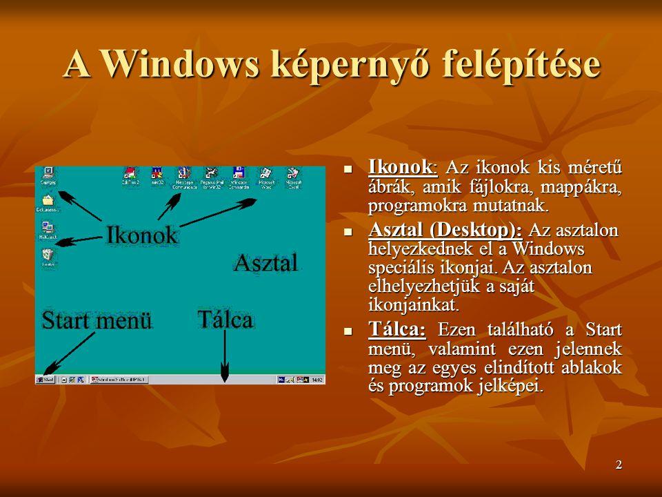 2 A Windows képernyő felépítése  Ikonok : Az ikonok kis méretű ábrák, amik fájlokra, mappákra, programokra mutatnak.  Ikonok : Az ikonok kis méretű
