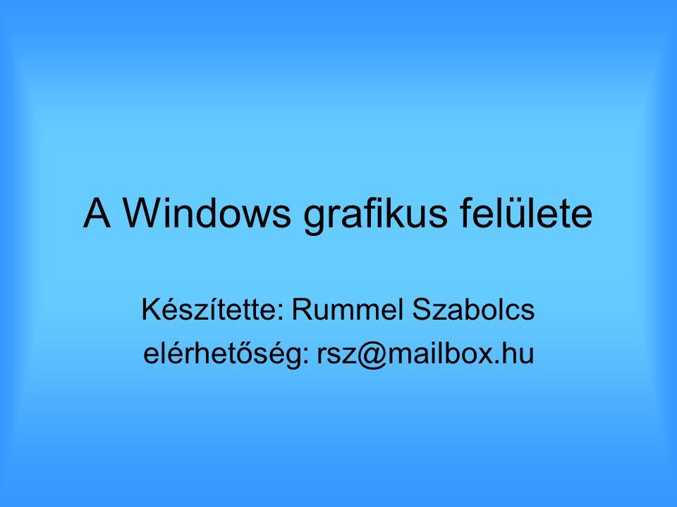 A Windows grafikus felülete Készítette: Rummel Szabolcs elérhetőség: rsz@mailbox.hu