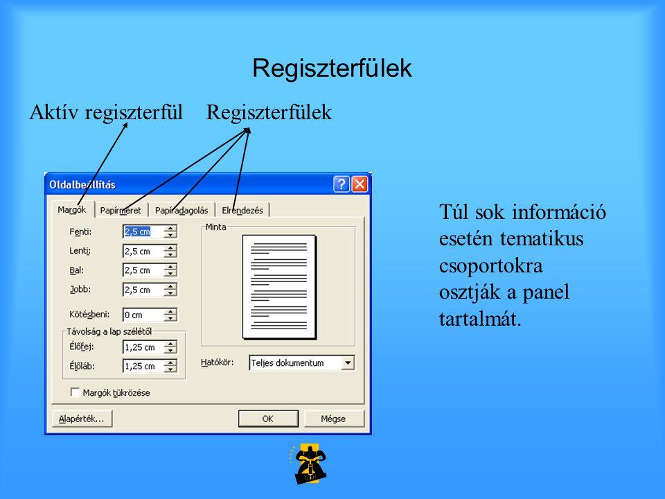 Regiszterfülek Aktív regiszterfül Túl sok információ esetén tematikus csoportokra osztják a panel tartalmát.