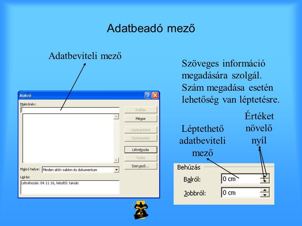 Adatbeadó mező Szöveges információ megadására szolgál. Szám megadása esetén lehetőség van léptetésre. Adatbeviteli mező Léptethető adatbeviteli mező É