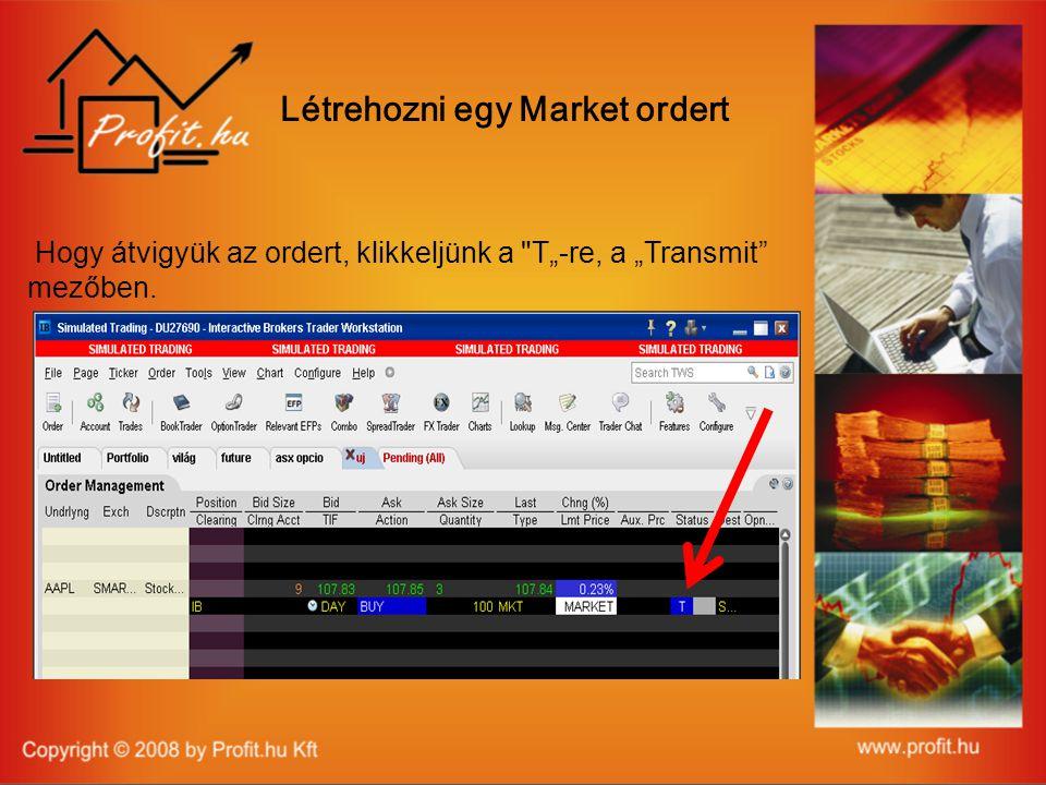 """Hogy átvigyük az ordert, klikkeljünk a T""""-re, a """"Transmit mezőben. Létrehozni egy Market ordert"""