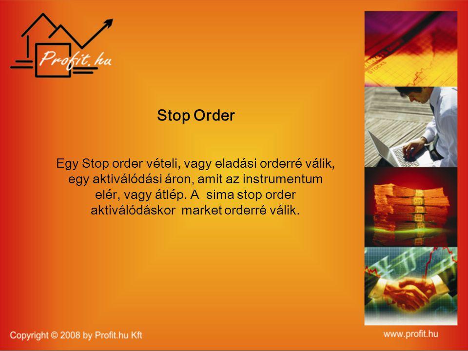 Stop Order Egy Stop order vételi, vagy eladási orderré válik, egy aktiválódási áron, amit az instrumentum elér, vagy átlép.