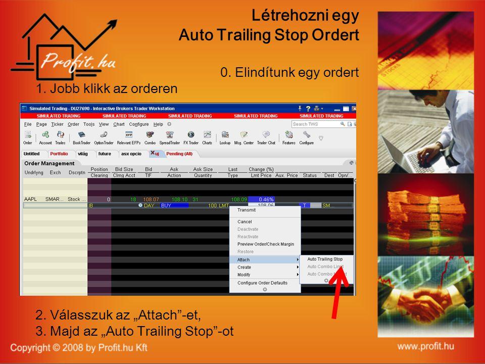 Létrehozni egy Auto Trailing Stop Ordert 0. Elindítunk egy ordert 1.
