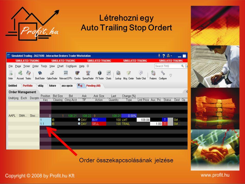 Létrehozni egy Auto Trailing Stop Ordert Order összekapcsolásának jelzése