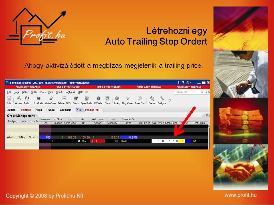Létrehozni egy Auto Trailing Stop Ordert Ahogy aktivizálódott a megbízás megjelenik a trailing price.