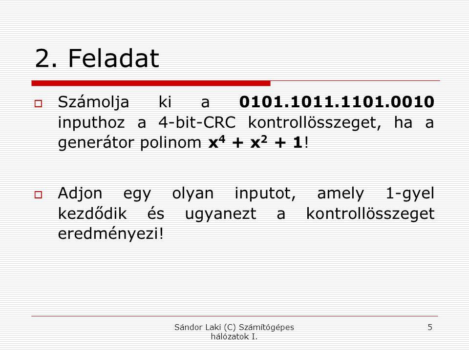 3.Feladat Történt-e hiba az átvitel során, ha a vevő a következő üzenetet kapja:  1011 0001 1101 1111 1100 0011 0101 110001  A generátor polinom x 6 + x 4 + x + 1 Sándor Laki (C) Számítógépes hálózatok I.