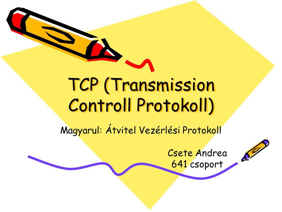 TCP (Transmission Controll Protokoll) Magyarul: Átvitel Vezérlési Protokoll Csete Andrea 641 csoport