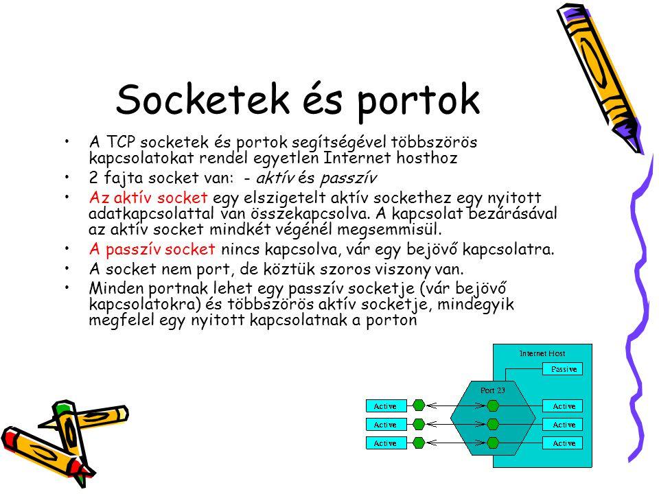 Socketek és portok •A TCP socketek és portok segítségével többszörös kapcsolatokat rendel egyetlen Internet hosthoz •2 fajta socket van: - aktív és pa