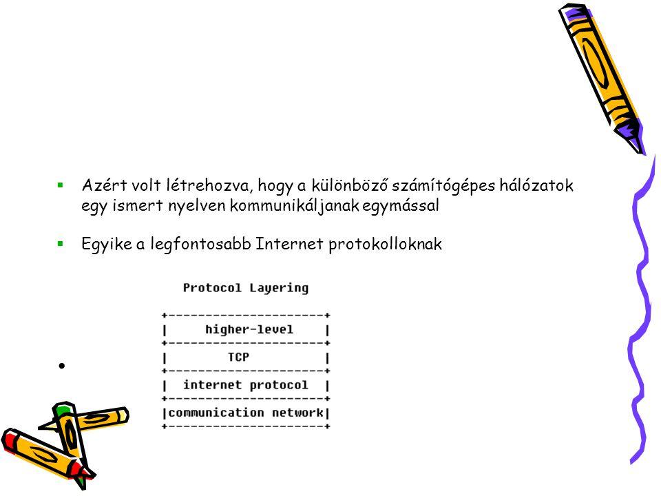 Feladatai •a küldő számítógépen a továbbítandó adathalmaz feldarabolása adatcsomagokra, és az adatcsomagok címkézése •az adatokat fogadó számítógépen a kapott adatcsomagok összerakása, és így az eredeti adathalmaz előállítása