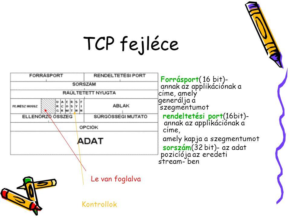 TCP fejléce Forrásport( 16 bit)- annak az applikációnak a cίme, amely generálja a szegmentumot rendeltetési port(16bit)- annak az applikációnak a cίme