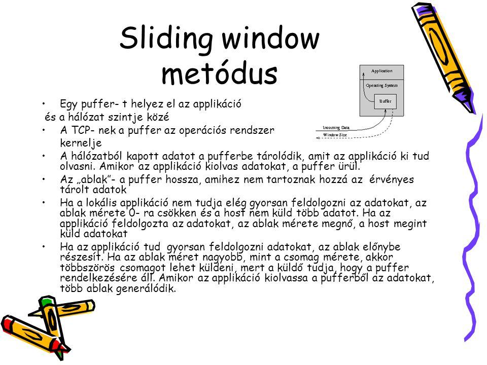 Sliding window metódus •Egy puffer- t helyez el az applikáció és a hálózat szintje közé •A TCP- nek a puffer az operációs rendszer kernelje •A hálózat