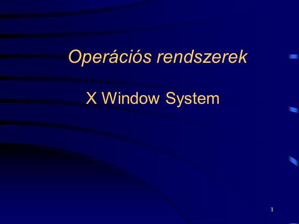 12 Az X Window rendszer koncepciója •Az alapvető elem a grafikus, ún.