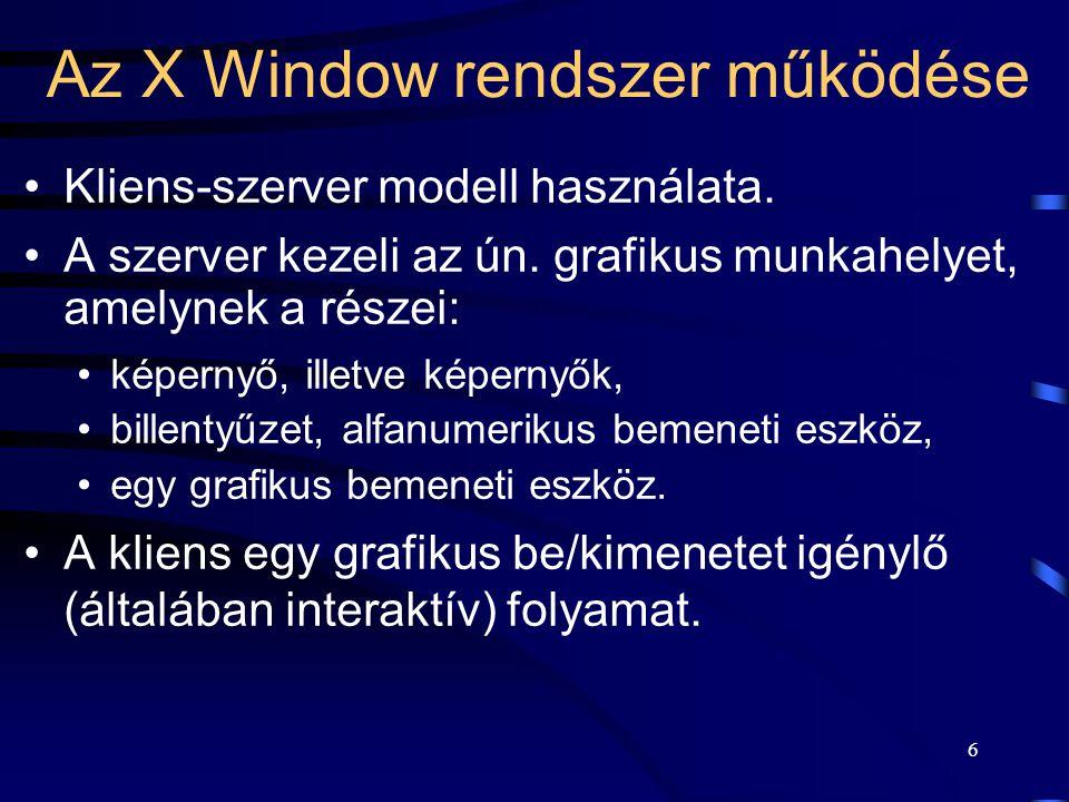 17 A megjelenítő eszköz kezelése •Raszteres (képpontokból, pixelekből álló) grafikus terminált kezel.