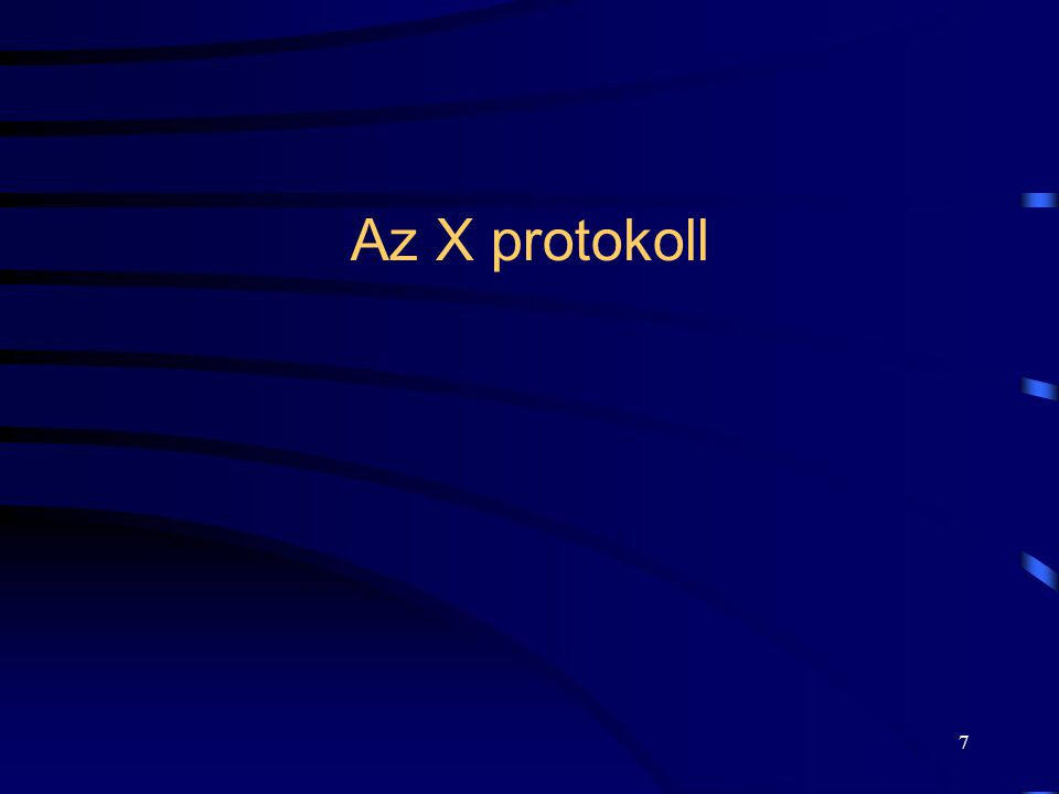 8 •A rendszer magja az X protokoll: •definiálja a kliens és a szerver együttműködésének a módját: •leírja a lehetséges grafikus funkciókat és, •a megengedett akciókat.