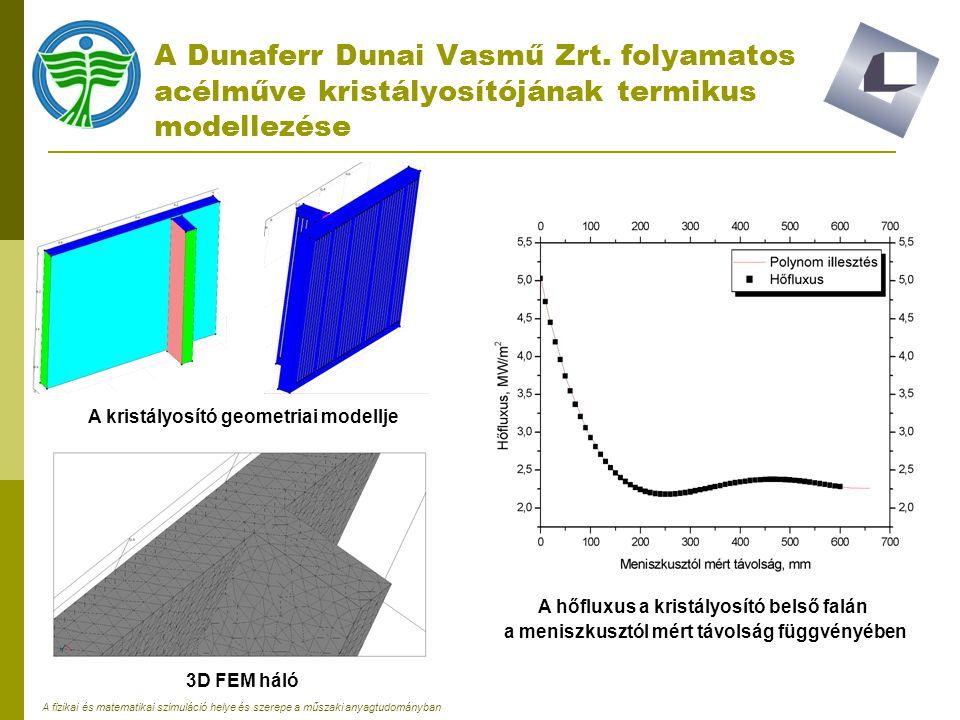 A fizikai és matematikai szimuláció helye és szerepe a műszaki anyagtudományban A Dunaferr Dunai Vasmű Zrt. folyamatos acélműve kristályosítójának ter