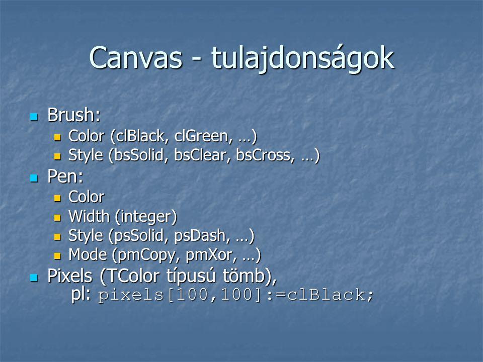 Canvas - tulajdonságok  Brush:  Color (clBlack, clGreen, …)  Style (bsSolid, bsClear, bsCross, …)  Pen:  Color  Width (integer)  Style (psSolid, psDash, …)  Mode (pmCopy, pmXor, …)  Pixels (TColor típusú tömb), pl: pixels[100,100]:=clBlack;