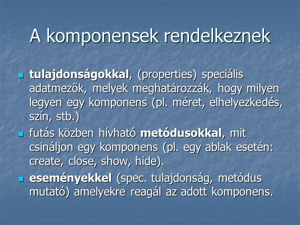 A komponensek rendelkeznek  tulajdonságokkal, (properties) speciális adatmezők, melyek meghatározzák, hogy milyen legyen egy komponens (pl. méret, el