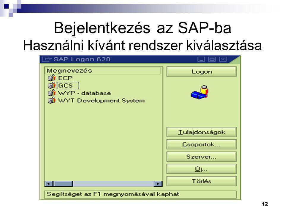 12 Bejelentkezés az SAP-ba Használni kívánt rendszer kiválasztása
