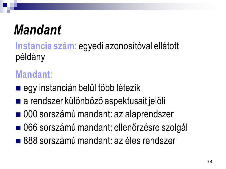 14 Mandant Instancia szám : egyedi azonosítóval ellátott példány Mandant :  egy instancián belül több létezik  a rendszer különböző aspektusait jelö