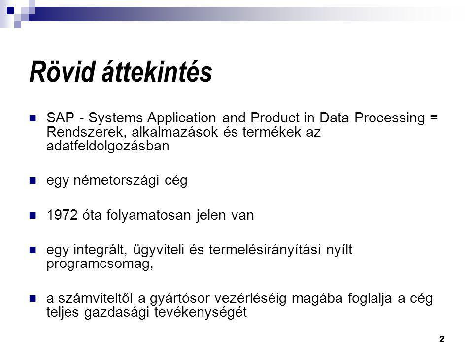 2 Rövid áttekintés  SAP - Systems Application and Product in Data Processing = Rendszerek, alkalmazások és termékek az adatfeldolgozásban  egy német