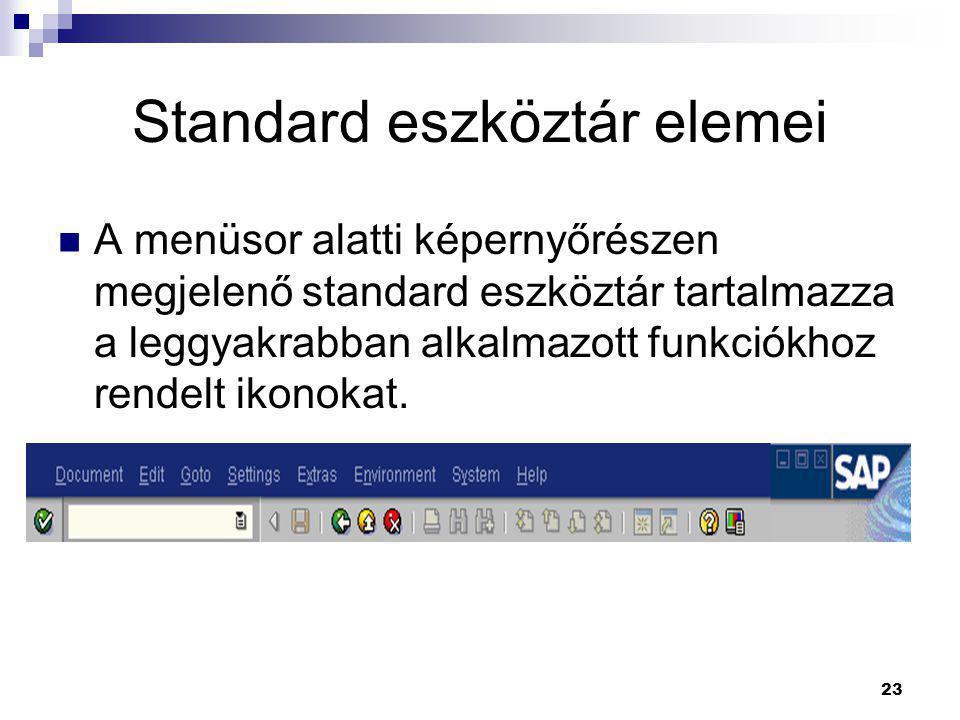 23 Standard eszköztár elemei  A menüsor alatti képernyőrészen megjelenő standard eszköztár tartalmazza a leggyakrabban alkalmazott funkciókhoz rendel