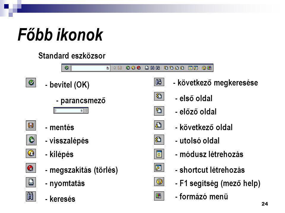 24 Főbb ikonok Standard eszközsor - parancsmező - bevitel (OK) - mentés - visszalépés - kilépés - megszakítás (törlés) - nyomtatás - keresés - követke
