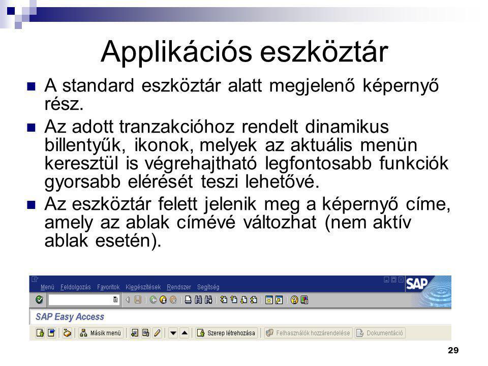 29 Applikációs eszköztár  A standard eszköztár alatt megjelenő képernyő rész.  Az adott tranzakcióhoz rendelt dinamikus billentyűk, ikonok, melyek a