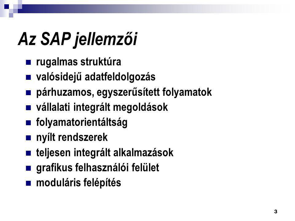 3 Az SAP jellemzői  rugalmas struktúra  valósidejű adatfeldolgozás  párhuzamos, egyszerűsített folyamatok  vállalati integrált megoldások  folyam
