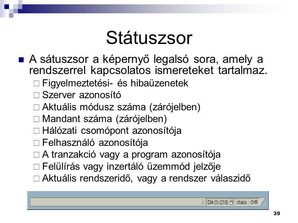 39 Státuszsor  A sátuszsor a képernyő legalsó sora, amely a rendszerrel kapcsolatos ismereteket tartalmaz.  Figyelmeztetési- és hibaüzenetek  Szerv