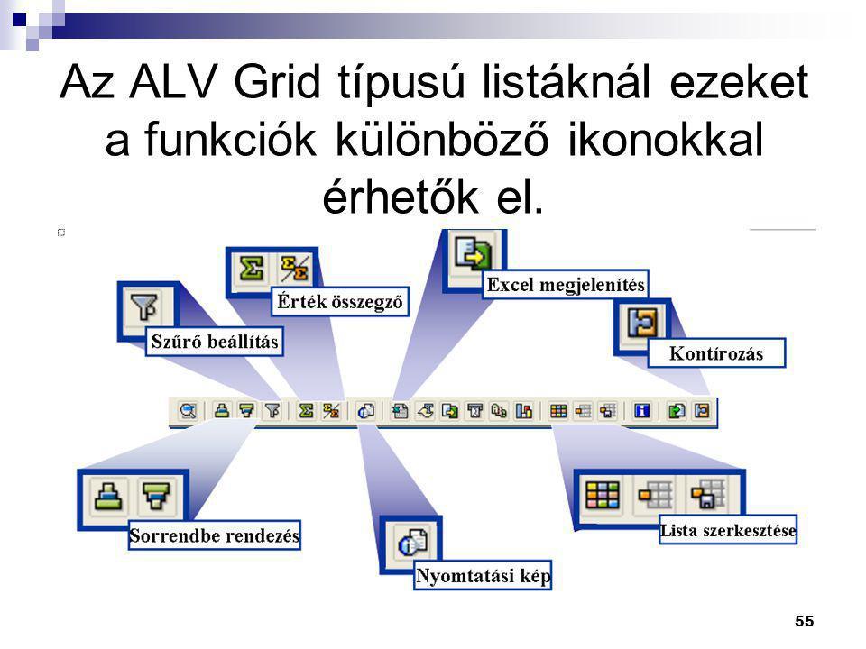 55 Az ALV Grid típusú listáknál ezeket a funkciók különböző ikonokkal érhetők el.