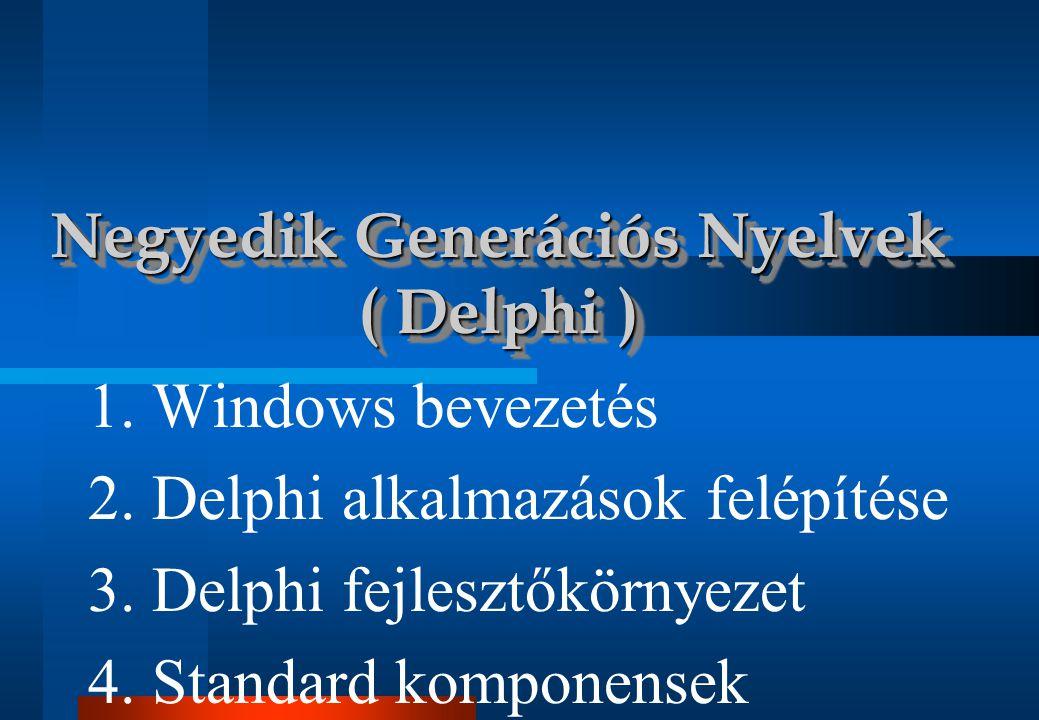 Delphi Delphi I / 51 Standard komponensek • Szerepük: adat megjelenítése és bekérése •TEdit: egy sorban •TMemo: több sorban • Fontosabb jellemzők: •Text •Text: String Lines •TMemo - nál: Lines: TStrings A megjelenített szöveg soronkénti feldolgozása •MaxLength •MaxLength: Integer •AutoSelect •AutoSelect: Boolean TEdit, TMemo