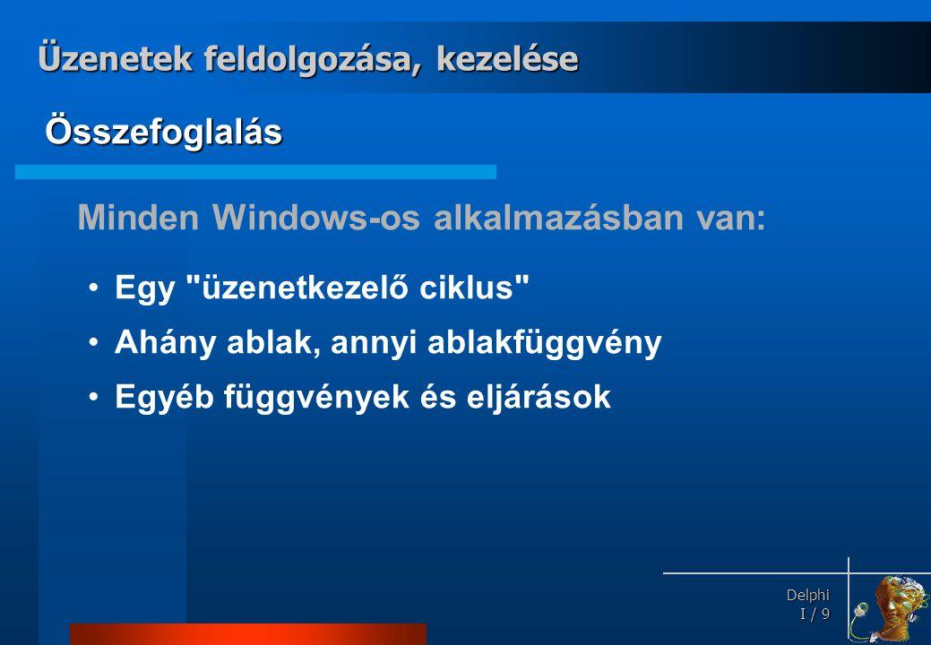 Delphi Delphi I / 9 Összefoglalás Minden Windows-os alkalmazásban van: •Egy