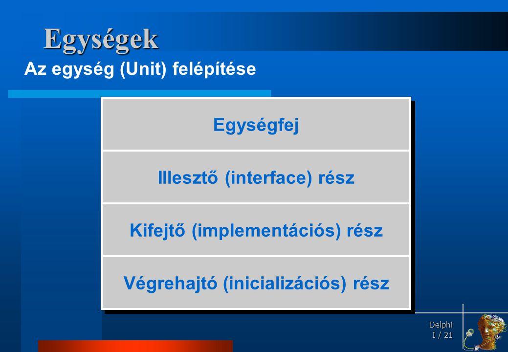 Delphi Delphi I / 21 Egységek Az egység (Unit) felépítése Egységfej Illesztő (interface) rész Kifejtő (implementációs) rész Végrehajtó (inicializációs