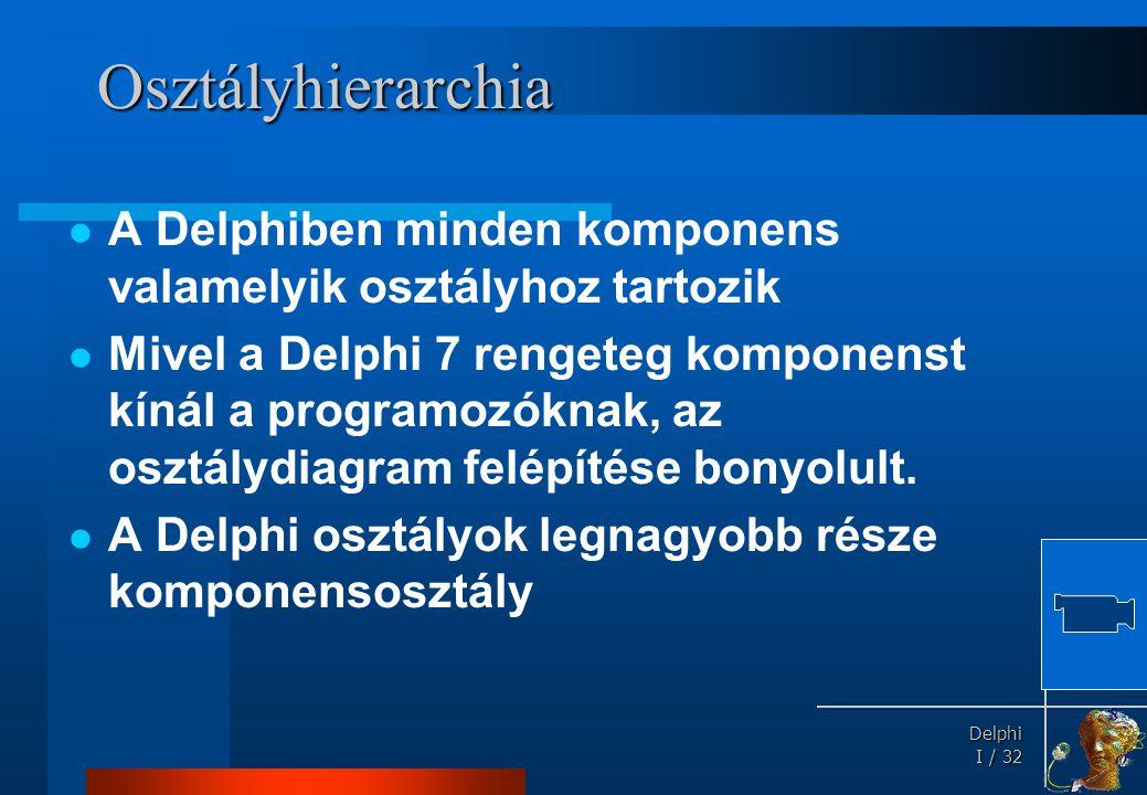 Delphi Delphi I / 32 Osztályhierarchia  A Delphiben minden komponens valamelyik osztályhoz tartozik  Mivel a Delphi 7 rengeteg komponenst kínál a pr