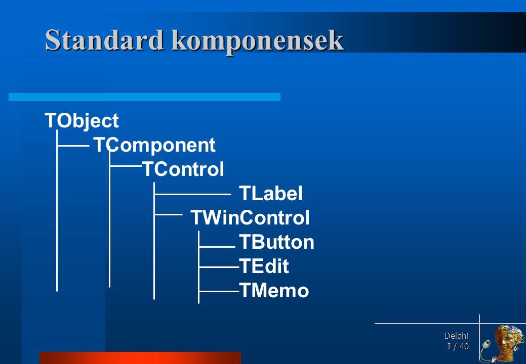 Delphi Delphi I / 40 Standard komponensek TObject TComponent TControl TLabel TWinControl TButton TEdit TMemo