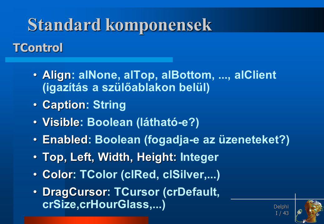 Delphi Delphi I / 43 Standard komponensek •Align •Align: alNone, alTop, alBottom,..., alClient (igazítás a szülőablakon belül) •Caption •Caption: Stri