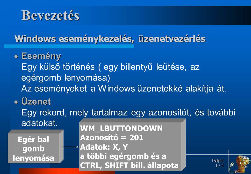 Delphi Delphi I / 5 • Az üzeneteket a Windows rendszer szétszórja megfelelő szabályok szerint.