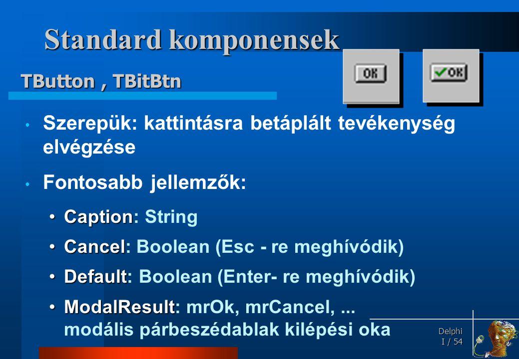 Delphi Delphi I / 54 Standard komponensek • Szerepük: kattintásra betáplált tevékenység elvégzése • Fontosabb jellemzők: •Caption •Caption: String •Ca