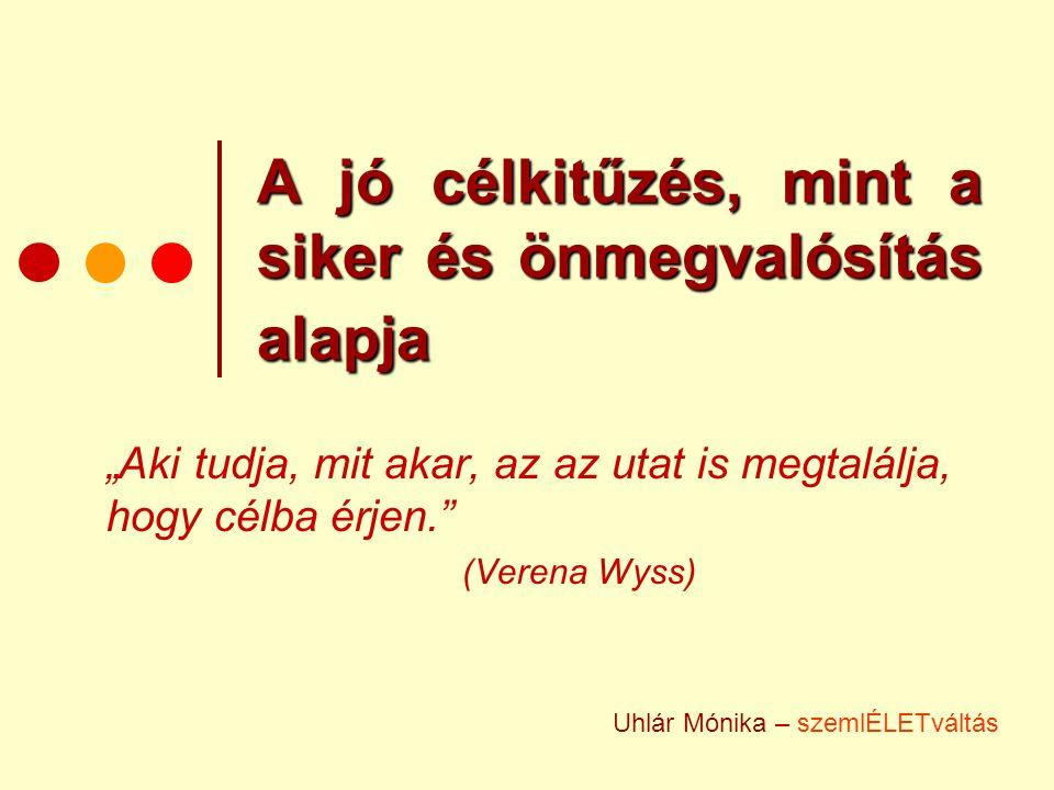 """A jó célkitűzés, mint a siker és önmegvalósítás alapja """"Aki tudja, mit akar, az az utat is megtalálja, hogy célba érjen."""" (Verena Wyss) Uhlár Mónika –"""