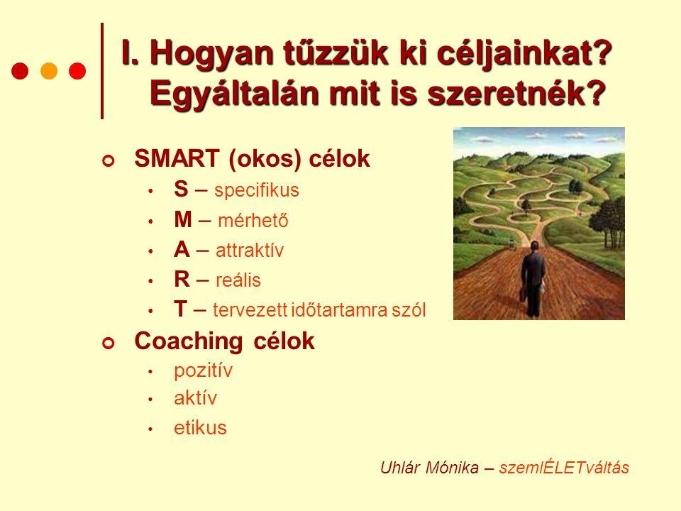 I. Hogyan tűzzük ki céljainkat? Egyáltalán mit is szeretnék? SMART (okos) célok • S – specifikus • M – mérhető • A – attraktív • R – reális • T – terv
